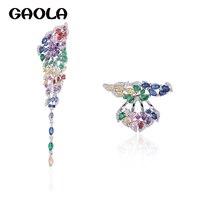 GAOLA mujeres flor Multicolor cristal piedras AAA Cubic Zirconia mariposa pendientes moda joyería