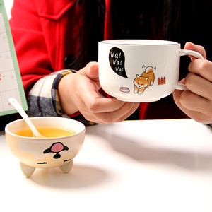 Image 3 - With Cover Cute Dog Cat Claw Coffee Tea Mug Cherry Double Layer Ceramic Juice Cup Transparent Pink Milk Mug Water Cup