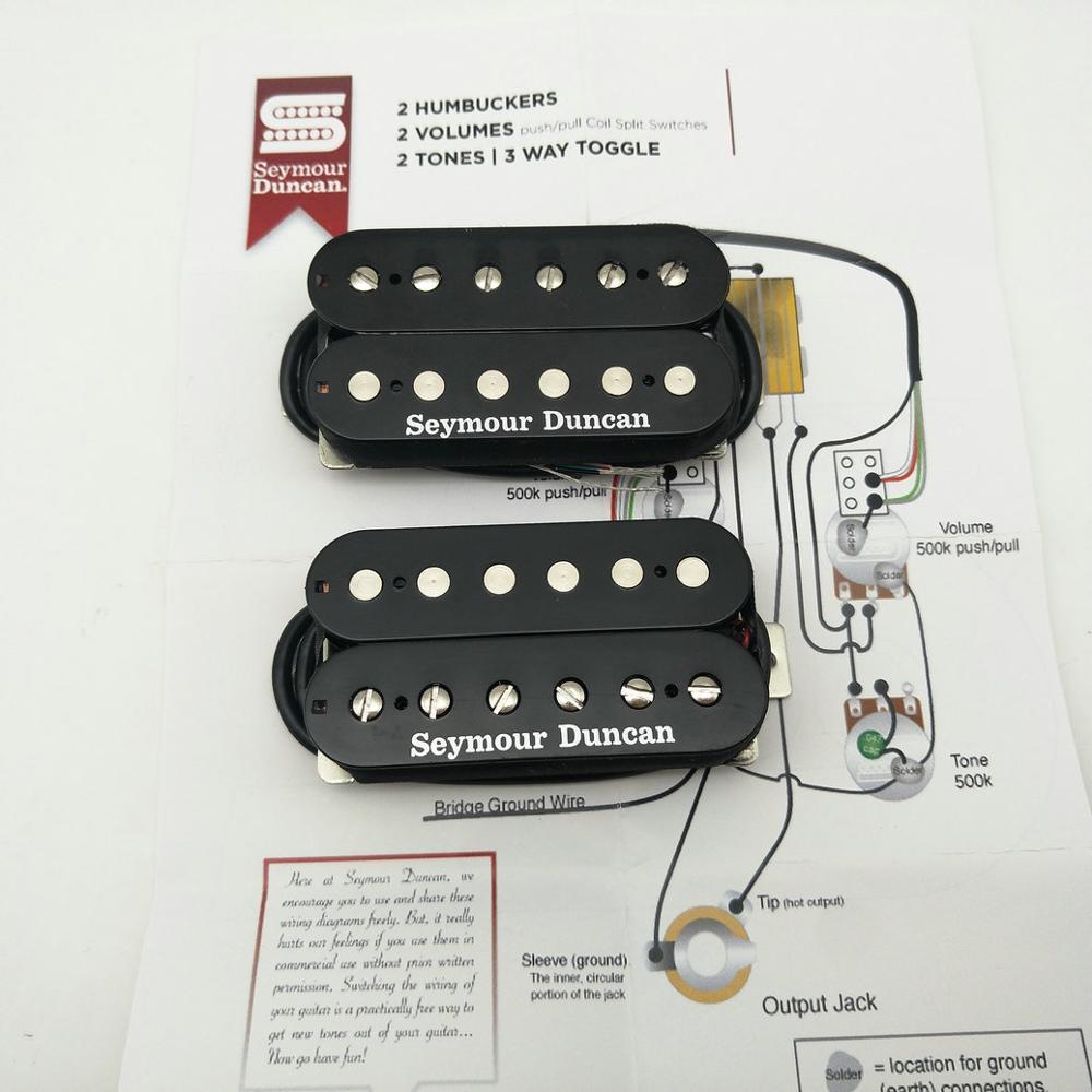 Guitar Pickups Seymour Duncan Humbucker Set SH 4 and SH 1n 4 Conductor Black Made in