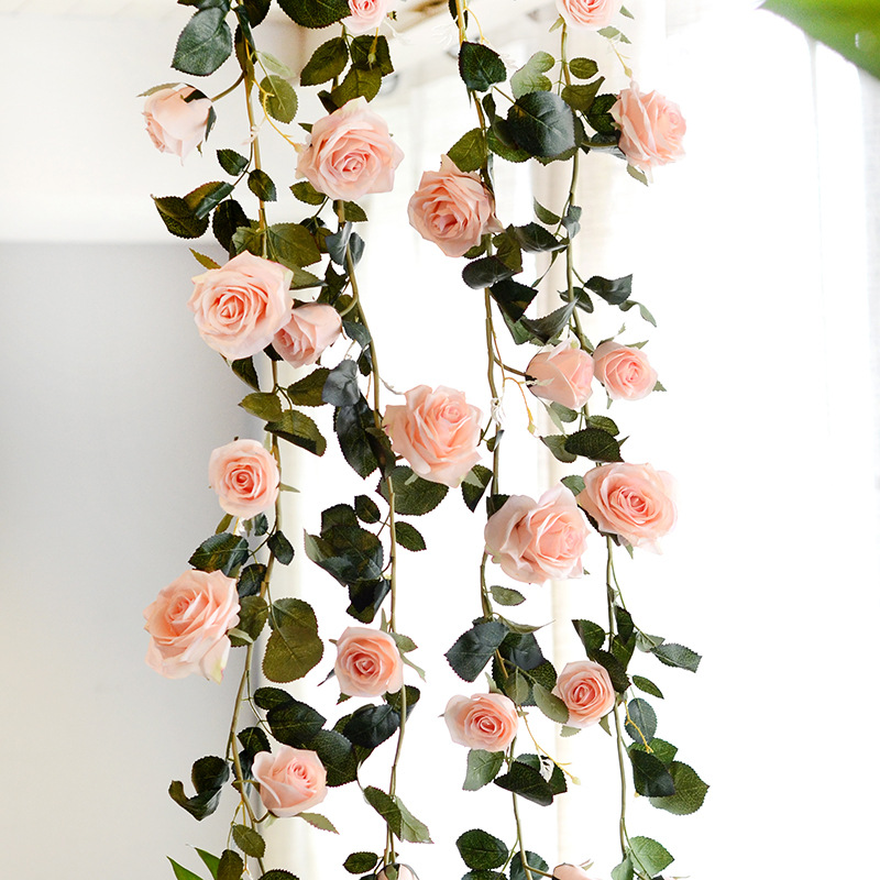 Acheter Australie 1.8 m soie rose fleur de vigne artificielle décorative rose rotin maison de mariage décor de fond de decoration rose fiable fournisseurs
