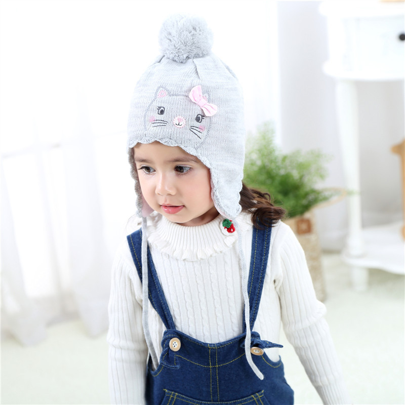 Cute Puffer Ball Baby Hat Soft Cotton Newborn Baby Beanie Double Layer spring autumn Hat For Baby Girls Boys Knitted Kids Hats