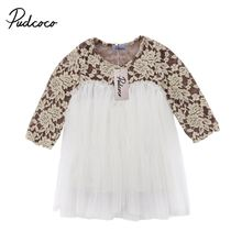 Kids Baby Girls Princess Party Lace Tutu Long Sleeve Dress Floral Clothes 6M-5T