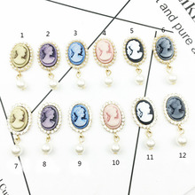 5pcs/lot Oval Beauty Head Rhinestone Pearl Buttons Brooch Alloy Diamante Crystal Bow wedding decoration Sewing Accessories vintage rhinestone embossed figure oval brooch
