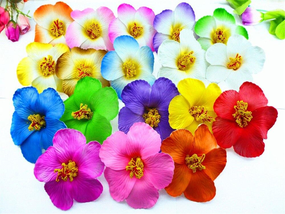 100pcs free shipping mixed colors Foam Hawaiian flower Hibiscus Flower decor  9cm 18