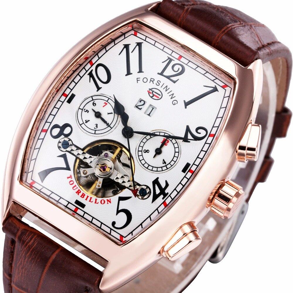 2016 Top Brand Men Women Auto Mechanical Watch Multifunction Tourbillon Couple Wristwatch Leather Band Calendar Tonneau