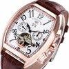 Lovers Watches Mulit Function Tourbillon Automatic Mechanical Wrist Watches Calendar Tonneau Leather Watchband Sub Dial