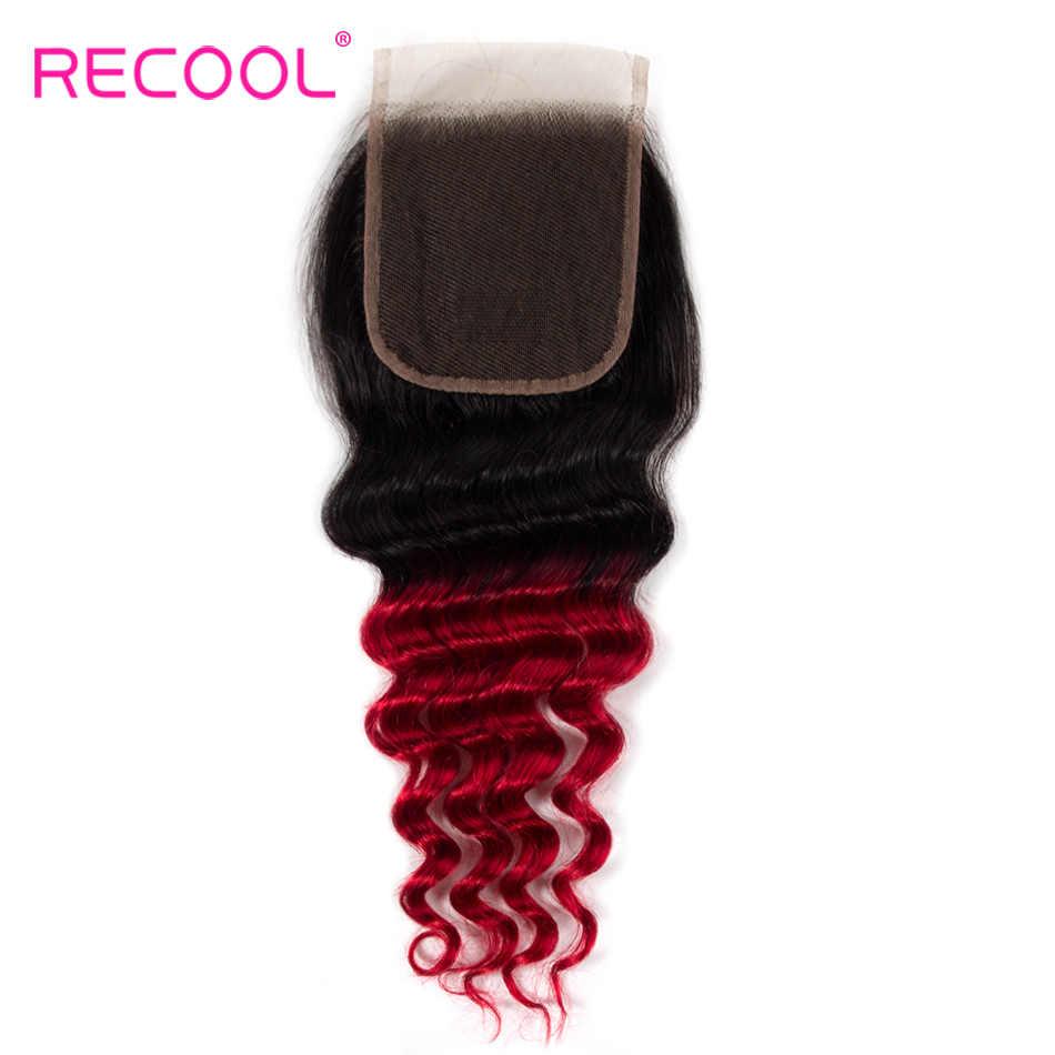 Cierres de encaje Recool rojo Ombre Remy cabello humano 1B/rojo Ombre brasileño suelto pelo profundo 4x4 Cierres con el pelo del bebé
