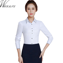 Wmwmnu 2017 Spring Lady Blouse solid color Full Sleeve Tops turn-down collar Women Office Elegant Work Wear Clothing Shirt ls309