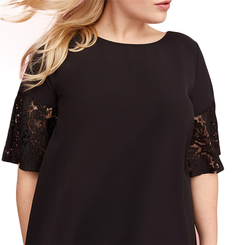 summer plus size western style fashion loose patchwork lace short sleeve  flare sleeve 3XL 7XL black large overweight woman dress-in Dresses from  Women s ... 3fdece69ba17