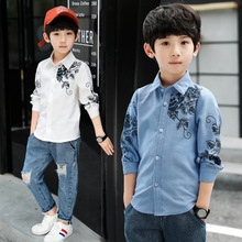 3-10 years 2019 new boy spring and autumn long-sleeved shirt print 9507