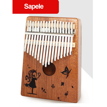 Portable 17T 17 Keys Thumb Piano Mahogany Body Musical Instrument Sapele Solid Wood