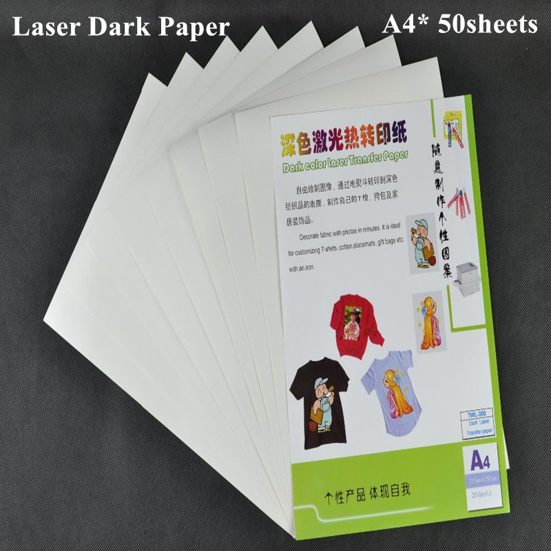 (A4*50pcs) Laser Heat Transfer Paper For Dark And Light T Shirt Iron On Color Thermal Printing Paper Papel Transfers TWL-300
