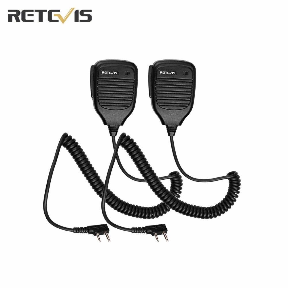 2X Microfono Accessori 2Pin PTT Palmare Spalla Altoparlante Mic Walkie-Talkie Retevis RT-5R H777 Per Baofeng UV-5R UV5R