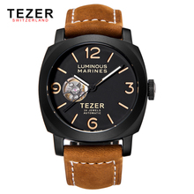 TEZER Famous Brand Watches Tourbillon Automatic Self Wind Mechanical Water Resist Watch For Men Leather Strap