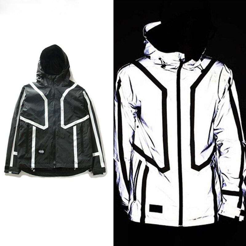 New Original 3M Reflective Windbreaker Jackets Men Hooded Trench Coat Waterproof Cardigan Jacket SMC0790-5