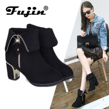 Fuijn Hot Autumn Winter Women Boots Square Heel Suede Leather Ankle Boots Solid European Ladies Shoes Big Size 35-42 Booties