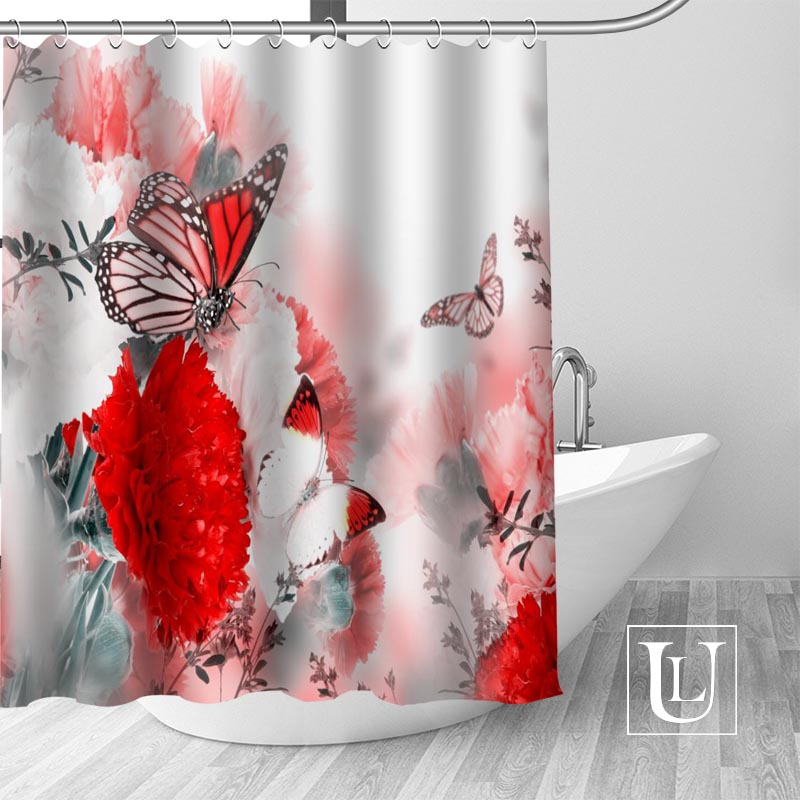 High Quality Custom Butterfly Shower Curtain Polyester Fabric Bathroom Hooks Mildew Resistant Decor In Curtains From Home Garden