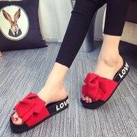 European Brand Design Bow Decorate Women Summer Pink Slippers Flat Heel Slides Flip Flops Female Ladies