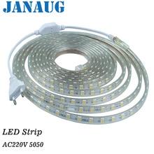 ruban led 220v bande led 5050 LEDstrip 1M 2M 3M 4M 5M, 10M White, Warm White, RGB LED strip lights waterproof with EU Power plug