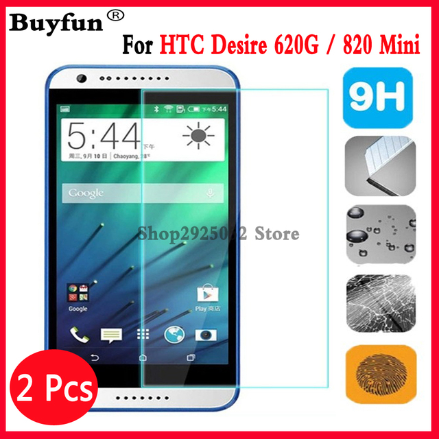 2Pcs For HTC Desire 620 G 620G / 820 Mini 5.0inches screen protector tempered glass cover For htc desire 620G dual sim case