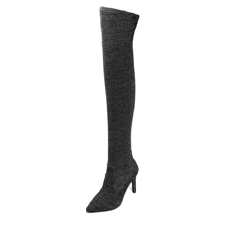 SALCXOI spring/autumn women boots slip-on flock elasticity thin heels pointed toe over the knee boots woman free shipping &6923 hot sale handmade black flock boots slip on women boots pointed toe shoes thin heels over the knee shoes woman wholesale 3098