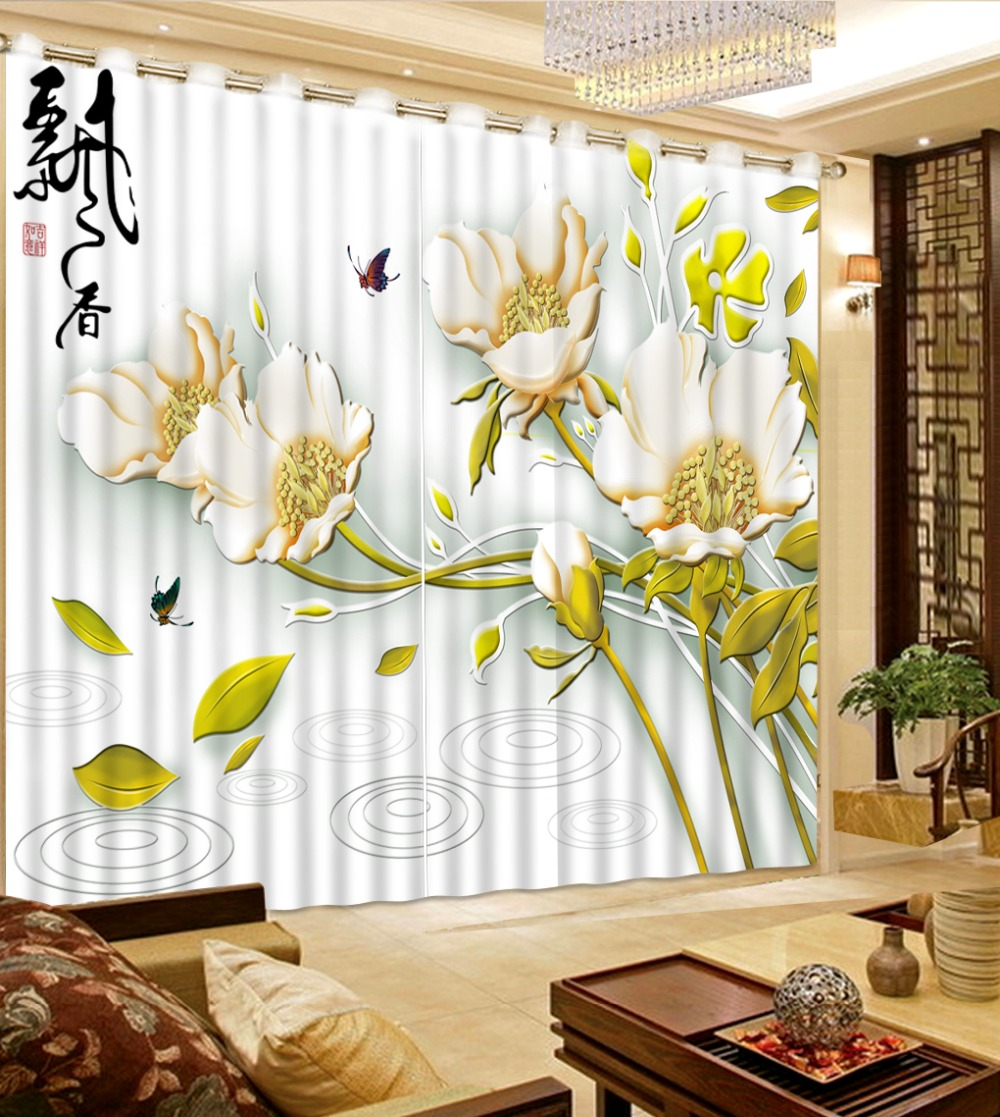 Embossed Flowers Luxury Chinese Style Curtains Butterfly Face Leaves Design  3d Curtains Living Room Window(