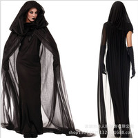 Plus size Ghost bride black dress Adult Broomstick sexy Witch Costume Halloween Cosplay dress for womenClub wear party costumes