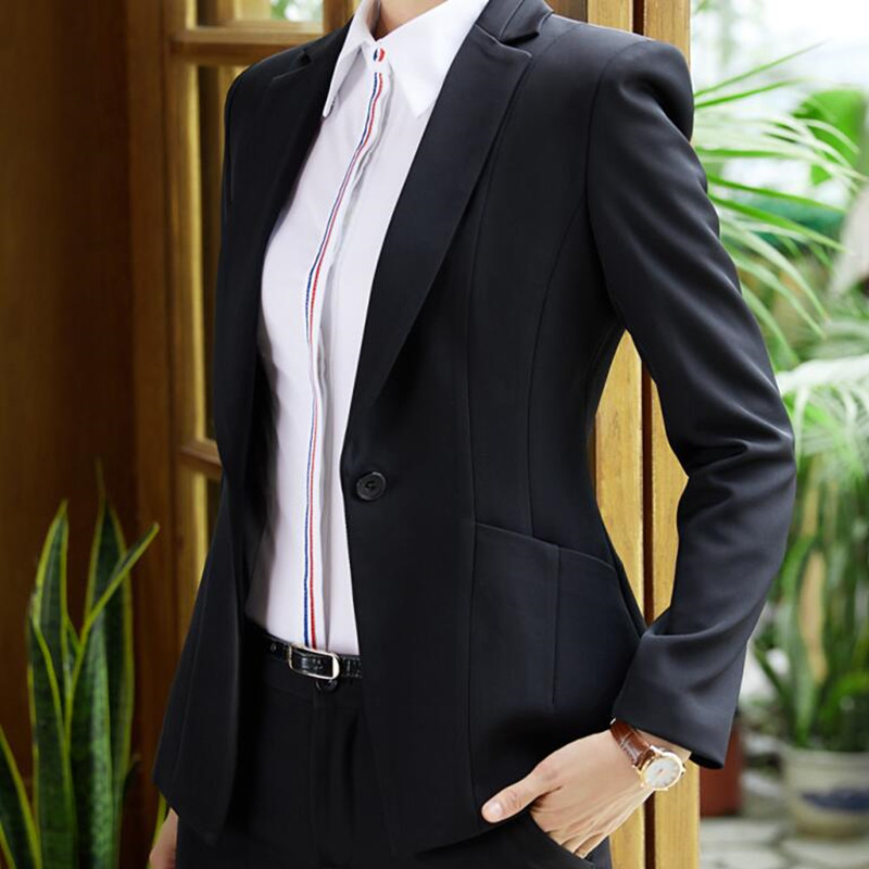 La Manches Longues Pants D'affaires Travail Black Pantalon Coat Pants Vêtements blue Costume Entrevue black Skirt And Plus Hiver Mince Femmes Dames Blazer De blue Et Skirt Formelle Bureau Taille À Mode qAwnzTxn8