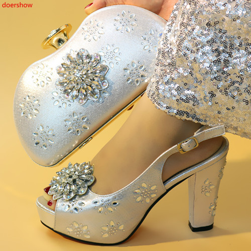doershow Luxury silver thin high heel shoes and purse bag set nice matching for wedding/party dress!HXX1 23