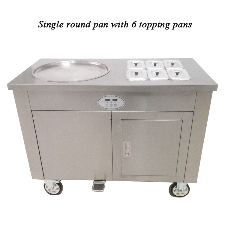 Japan Compressor Thailand Rolled Fried Ice Cream Machine/fried Ice Cream Machine Single Pan 1+6
