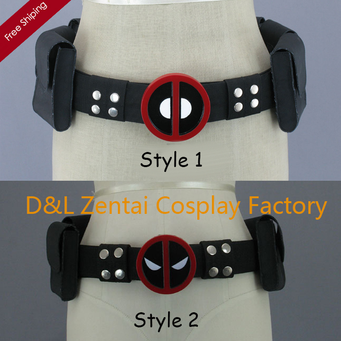 Free Shipping DHL Wholesale Cool Black Leather Deadpool Suit Belt In Two Style For Halloween Party BET1201
