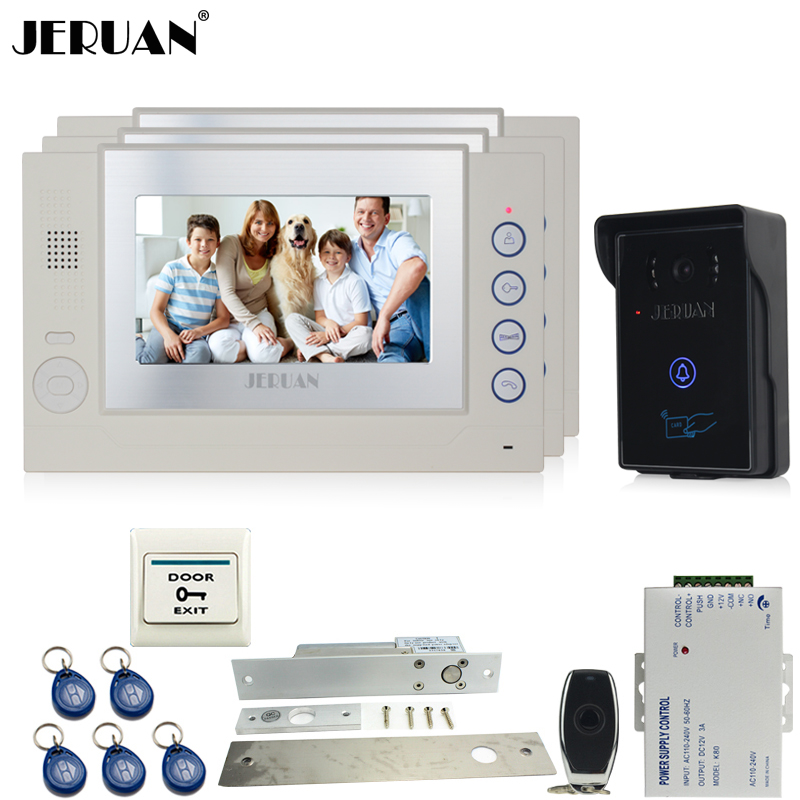 JERUAN 7`` Video door phone intercom system and three monitors+ RFID waterproof Touch Camera+Electric Drop Bolt lock+8GB Card