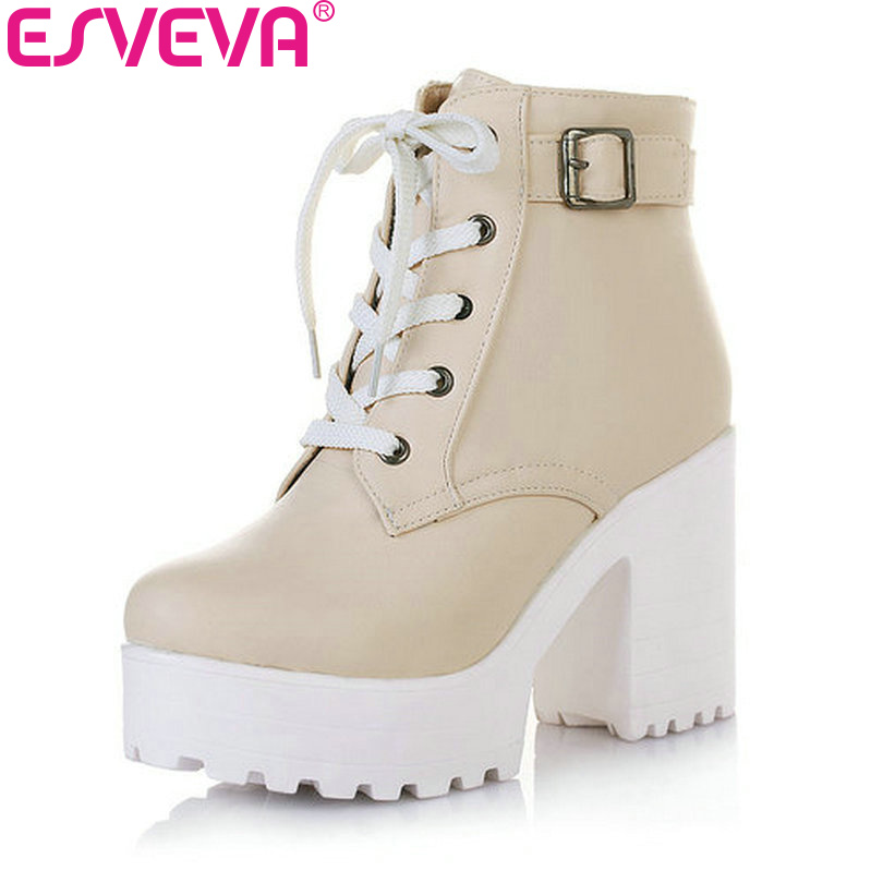 ФОТО ESVEVA 3 Color Winter Lace-Up Sexy Women Boots Fashion Platform punk high square heels Black Buckle Ankle boots Plus Size 34-43