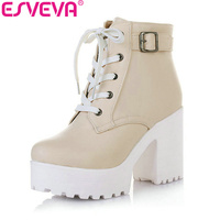New 2015 Winter Lace Up Fashion Platform Boots For Women Ankle Boots Punk Martin Boots