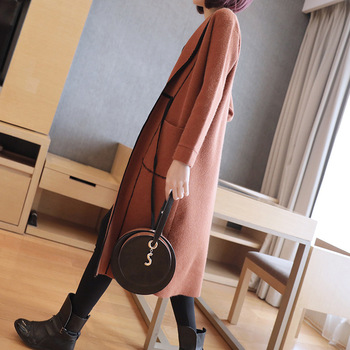 Autumn large size knit cardigan women's autumn and winter 2018 new sweater in the long section of fashion loose sweater coat