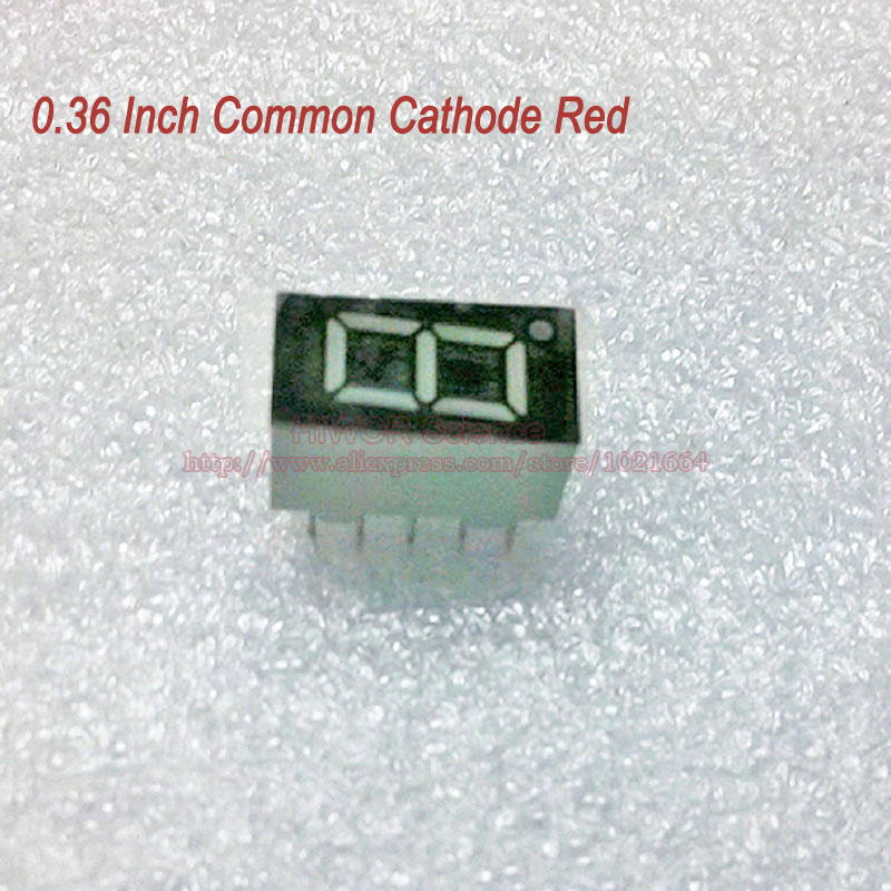 (10pcs/lot) 10 Pins 3611AR 0.36 Inch 1 Bit 7 Segment Red LED Display Share Common Cathode Digital Display