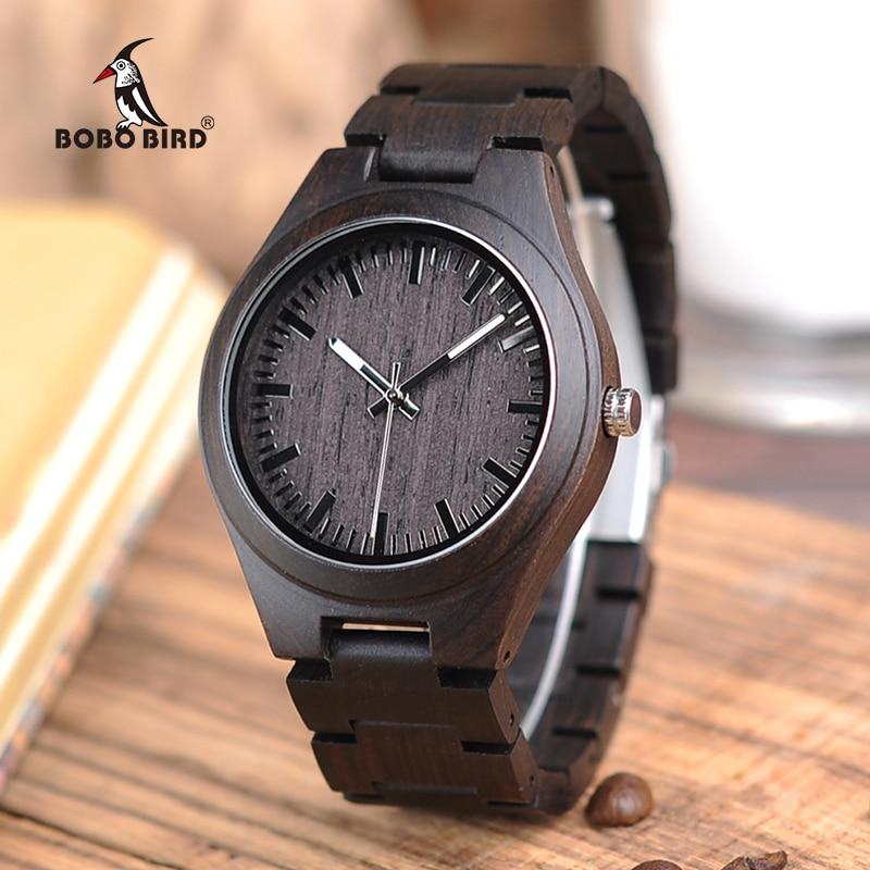 BOBO BIRD V-I22 Bamboo Wooden Watch Mens Luminous Hand Quartz Watches With Wood Strap Reloj De Los Hombres