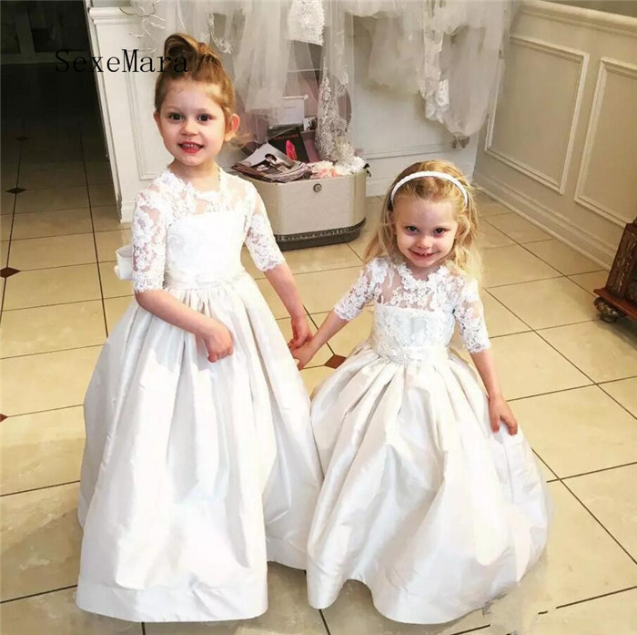 White Ivory Half Sleeves 2018 Flower Girls Dresses for Wedding Lace Applique Crew Neck Sheer Ankle Length Girls Communion Gown