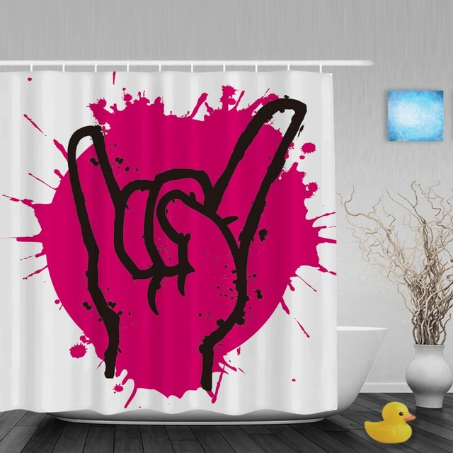 Pink Splash Paint Bathroom Shower Curtains Rock Hand Sign Curtain For ValentineWaterproof Polyester Fabric With Hooks
