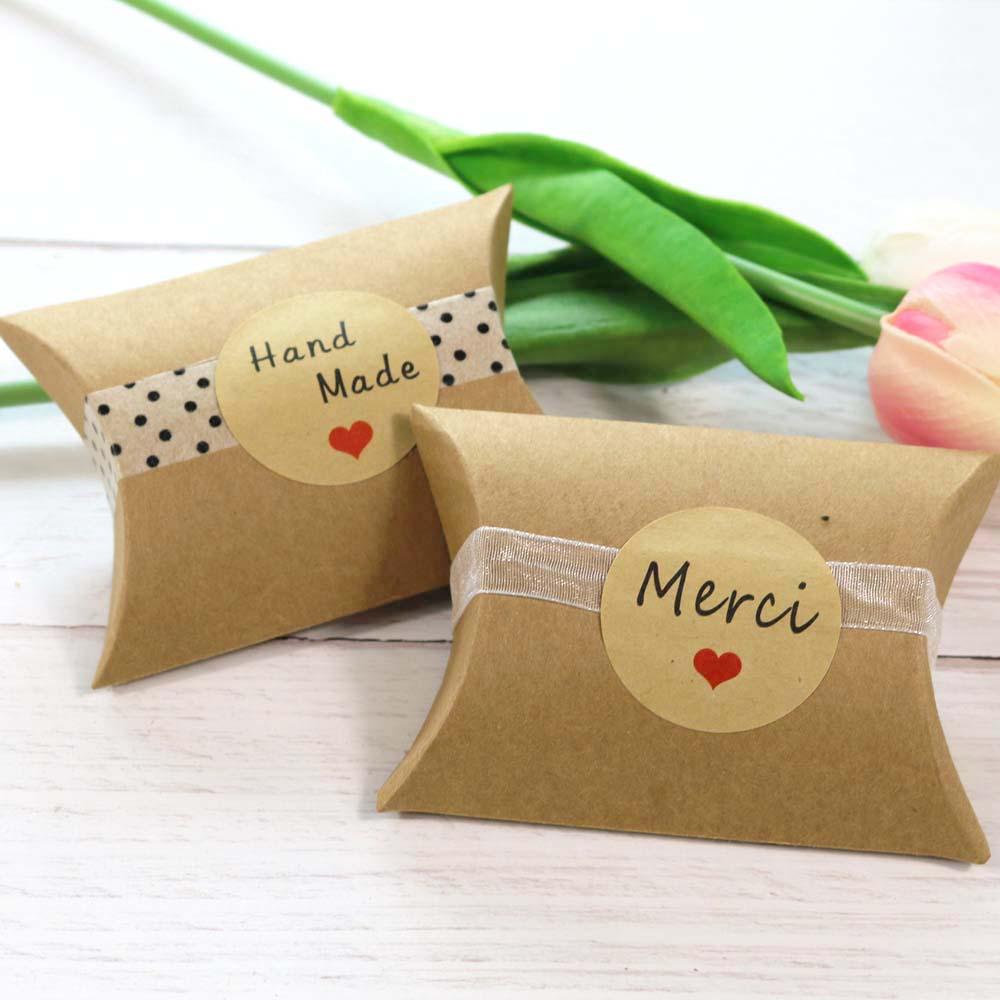 Sticker Label Decor Candy-Box Merci Paper Kraft-Seal Thank-You Handmade 102pcs Cookie-Gift