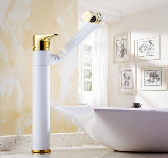 Rotating Basin faucet brass bathroom faucet luxury white and gold sink kitchen faucet heightened water tap tall sink faucet new arrival tall bathroom sink faucet mixer cold and hot kitchen tap single hole water tap kitchen faucet torneira cozinha