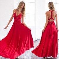 Women Summer Long Maxi Dress Sexy Red Bandage Multiway Bridesmaids Convertible Dress Women Wrap Dress