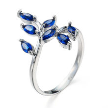 Blue Stone Ring Blue Leave Crystal Plant Wedding Ring with Paved AAA Cubic Zircon Silver Plating Ring for Women(China)