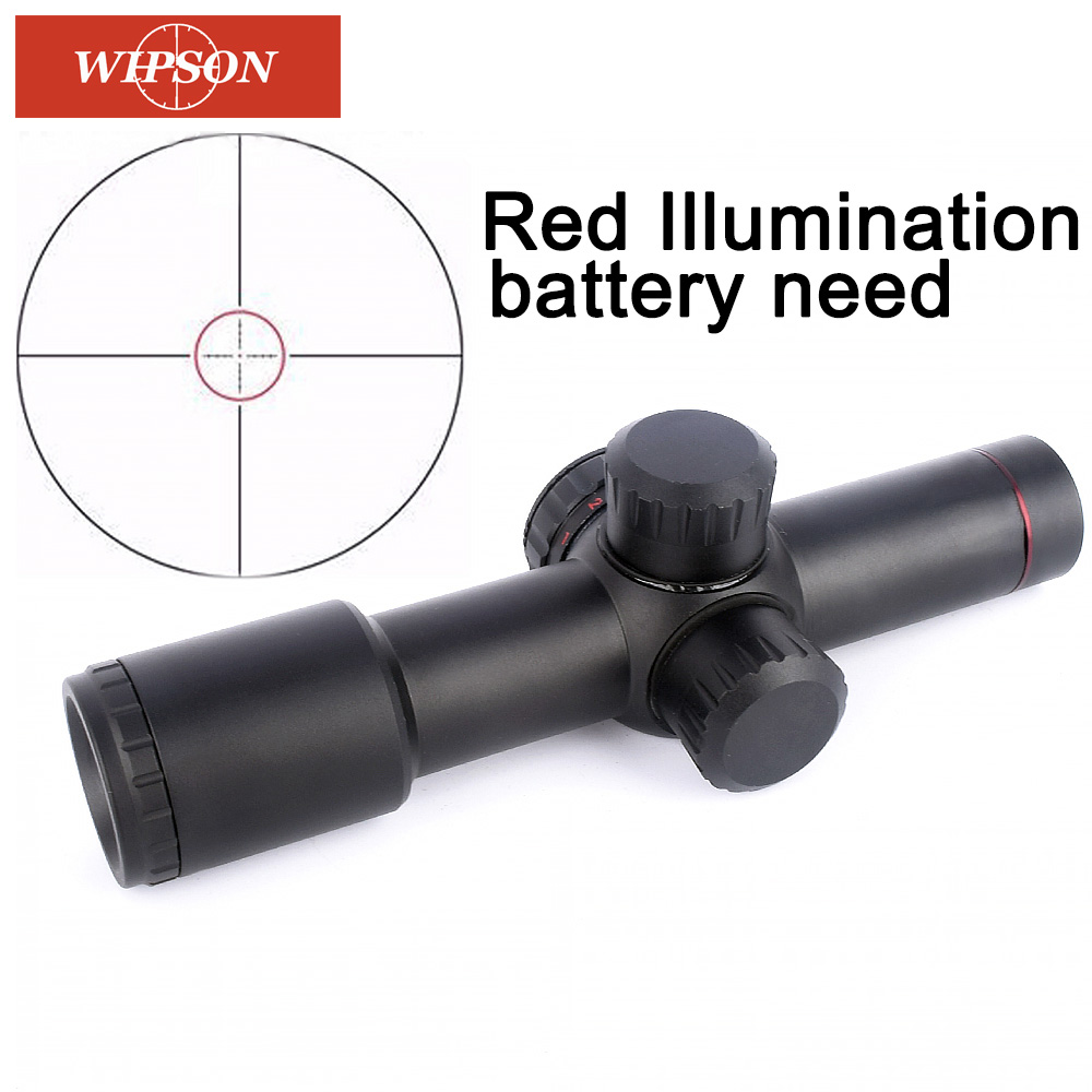 WIPSON Tactical Jakt Optics sevärdheter AK47 AK74 AR15 Jaktområde 4.5X20 Red Illumination Mil-Dot Riflescopes med Ring Mount
