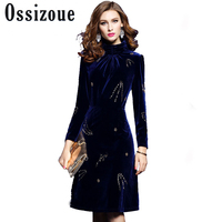 Runway 2018 Vintage Autumn Winter Fashion Women dress Slim Turtleneck Cloth Beading Velvet Dresses Party knee length Vestidos