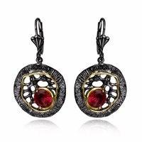Único Negro pendientes de oro regalo de Cumpleaños de la joyería de Moda Geométrica Brillantes Damas de cristal de Circón pendientes de Gota de Rojo de noche Turca