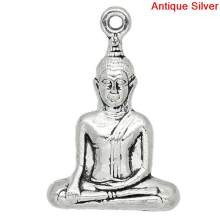"DoreenBeads Zinc metal alloy Charm Pendants Buddha Antique Silver 3.5cm(1 3/8"") x 23mm( 7/8""), 1 Pc new(China)"