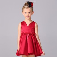 Retail New Style All Red Girls Dress For Wedding Party Kid Girl Solid Dress A Line