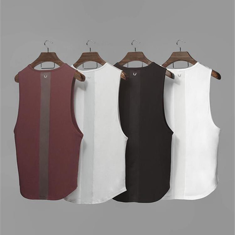 Brand Gyms Stringer Bodybuilding   Tank     Top   Men Fitness Singlet Sleeveless Shirt Curved Hem Patchwork Muscle Vest Undershirt