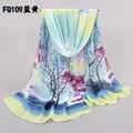 10pcs/lot womenlong chiffon shawlswholesale cheap beach scarf shawls brand women blue floral print chiffon scarfs shawls160*50cm